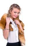 Woman wearing winter fur scarf Stock Photo