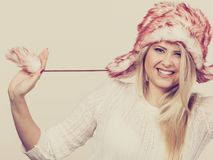 Woman wearing winter furry warm hat Royalty Free Stock Photography