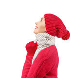 Woman Wearing Winter Hat and Gloves Royalty Free Stock Photos