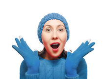 Woman Wearing Winter Hat and Gloves Royalty Free Stock Photography