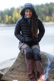 Woman Wearing Winter Jacket During Lakeside Camping Royalty Free Stock Images