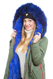 Woman wearing winter jacket scarf and cap Royalty Free Stock Photos