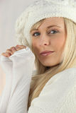 Woman wearing wool clothes Stock Photography