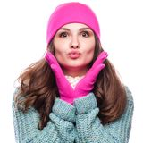 Woman  wearing woolen accessories Stock Image