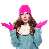 Woman  wearing woolen accessories Stock Photography