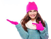 Woman  wearing woolen accessories Stock Images
