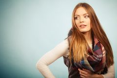 Woman wearing woolen checked scarf warm autumn clothing stock photography