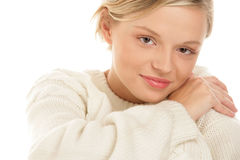 Woman wearing woolly sweater Royalty Free Stock Photos
