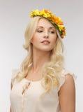 Woman wearing wreath of flowers Stock Image
