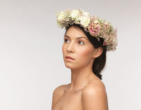 Woman wearing wreath of flowers Stock Images