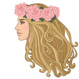 Woman wearing wreath of roses Royalty Free Stock Photo