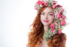 Woman with wearing a wreath of tulips Royalty Free Stock Images