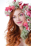 Woman with wearing a wreath of tulips Stock Images