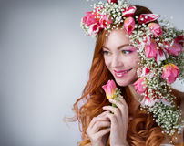 Woman with wearing a wreath of tulips Royalty Free Stock Photo