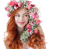 Woman with wearing a wreath of tulips Stock Photo