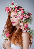 Woman with wearing a wreath of tulips Royalty Free Stock Photography