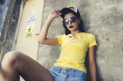 Woman Wearing Yellow Lace-up Neckline T-shirt royalty free stock photography
