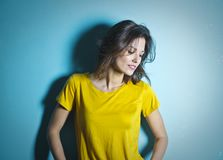 Woman Wearing Yellow Scoop Neck Shirt Royalty Free Stock Photography