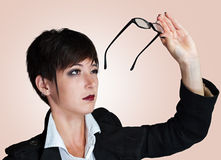 Woman wears glasses Royalty Free Stock Photos