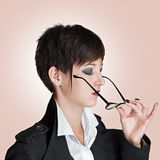 Woman wears glasses Stock Photos