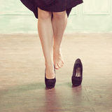 Woman Wears High-heeled Shoes Stock Image