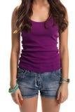 Woman wears purple tank top. Royalty Free Stock Photo