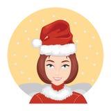 Woman Wears Santa Claus Hat 1 Stock Photo