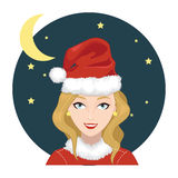 Woman Wears Santa Claus Hat 2 Royalty Free Stock Photo