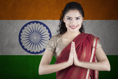 a12928196c Indian Female In Traditional Saree Dress And Diwali Greeting Stock ...