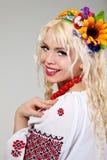 Woman wears Ukrainian national dress Stock Images