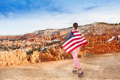 Woman wears USA flag, Bryce Canyon National Park Stock Photos