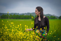 Woman in the weath field. Woman in the green weath field Stock Images