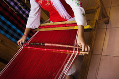 The woman of weaving Royalty Free Stock Photo