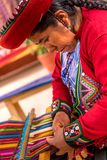 Woman weaving and handcrafting royalty free stock photo