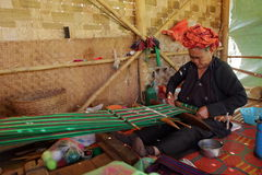 Woman at weaving in Myanmar Stock Photos