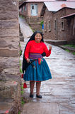 Woman weaving  at Taquile Island in Peru Royalty Free Stock Photos