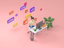 Woman web developer working on freelance. Isometric illustration icon with web development for concept design. 3d render