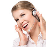 Woman web headset Royalty Free Stock Photo