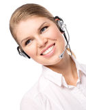 Woman web headset. Smiling female call assistant in web headset, isolated on a white background. Young cheerful blond woman phone consultant with hands free Stock Photos