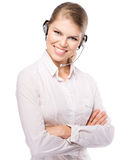 Woman web headset Royalty Free Stock Images