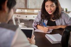 Woman website content writer interview successful business man Stock Photos