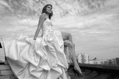 Woman in a wedding dress. On a roof. black-and-white image Royalty Free Stock Photography