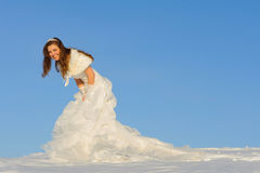 Woman in wedding dress Stock Images