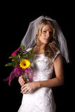 Woman wedding dress on black flowers look back Royalty Free Stock Images