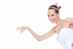 Woman in wedding dress choosing picking up isolated Stock Photo