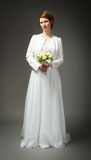 Woman in wedding dress frontal side Royalty Free Stock Photos
