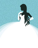 Woman in a wedding dress, invitation or flyer template Stock Photo