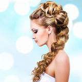 Woman with wedding hairstyle Royalty Free Stock Images