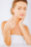 Woman with wedding ring Royalty Free Stock Photography