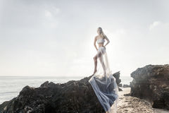 Woman in wedding veil on the beach Royalty Free Stock Photography